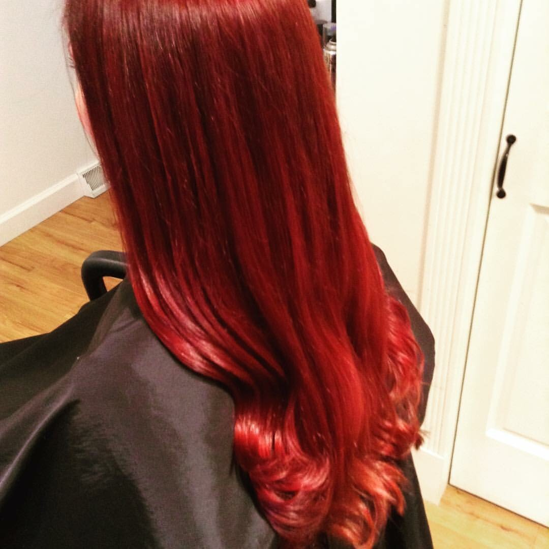 long red hair styled